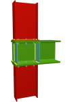 Uniones. Pilar inferior y pilar superior en nudo extremo de pórtico con viga pasante y ancho de ala mayor