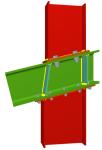 Uniones. Pilar inferior y pilar superior en nudo extremo de pórtico con viga inclinada pasante