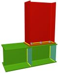 Uniones. Pilar superior en nudo extremo de pórtico con viga pasante y ancho de ala mayor