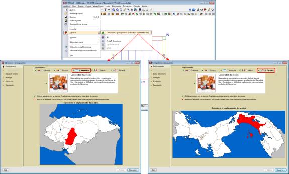 Exportação do orçamento e medição da estrutura com o Gerador de preços de Honduras e Panamá