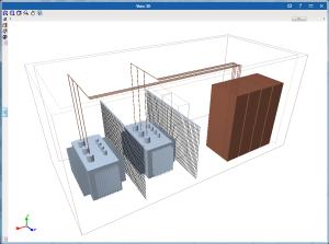 CYPELEC CT. Vista 3D de las líneas de conexión