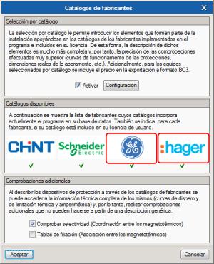 """Características técnicas por catálogo. Productos""""GENERALELECTRIC"""" y """"HAGER"""""""