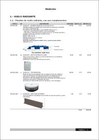 CYPETHERM HVAC. Piso radiante. Listagem de medições e orçamentos de produtos Polytherm. Clique para baixar pdf