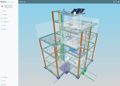 Modelo Open BIM. Visualización GLTF del modelo BIM generado por programas integrados en el flujo de trabajo Open BIM