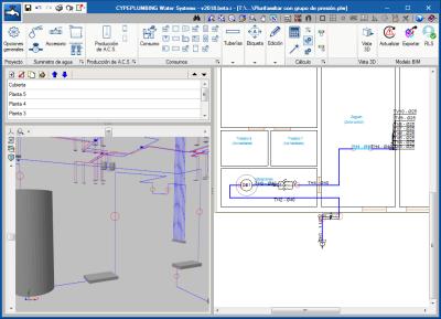 CYPEPLUMBING Water Systems. Generación de tramos verticales en la vista 3D entre elementos introducidos en la misma planta pero con distinto nivel