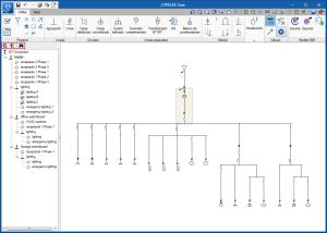 CYPELEC REBT, CYPELEC NF e CYPELEC Core. Expandir/contrair e procurar linhas no esquema em árvore da instalação.