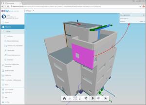 IFC Builder. Información de los elementos arquitectónicos en el visor 3D de BIMserver.center