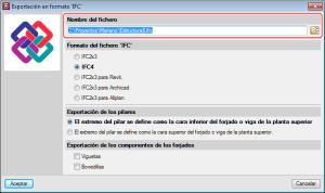 CYPECAD. Ruta de exportación del fichero IFC