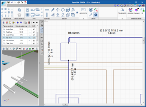 Open BIM Daikin. View the number of pipes in real scale in the 2D and 3D views