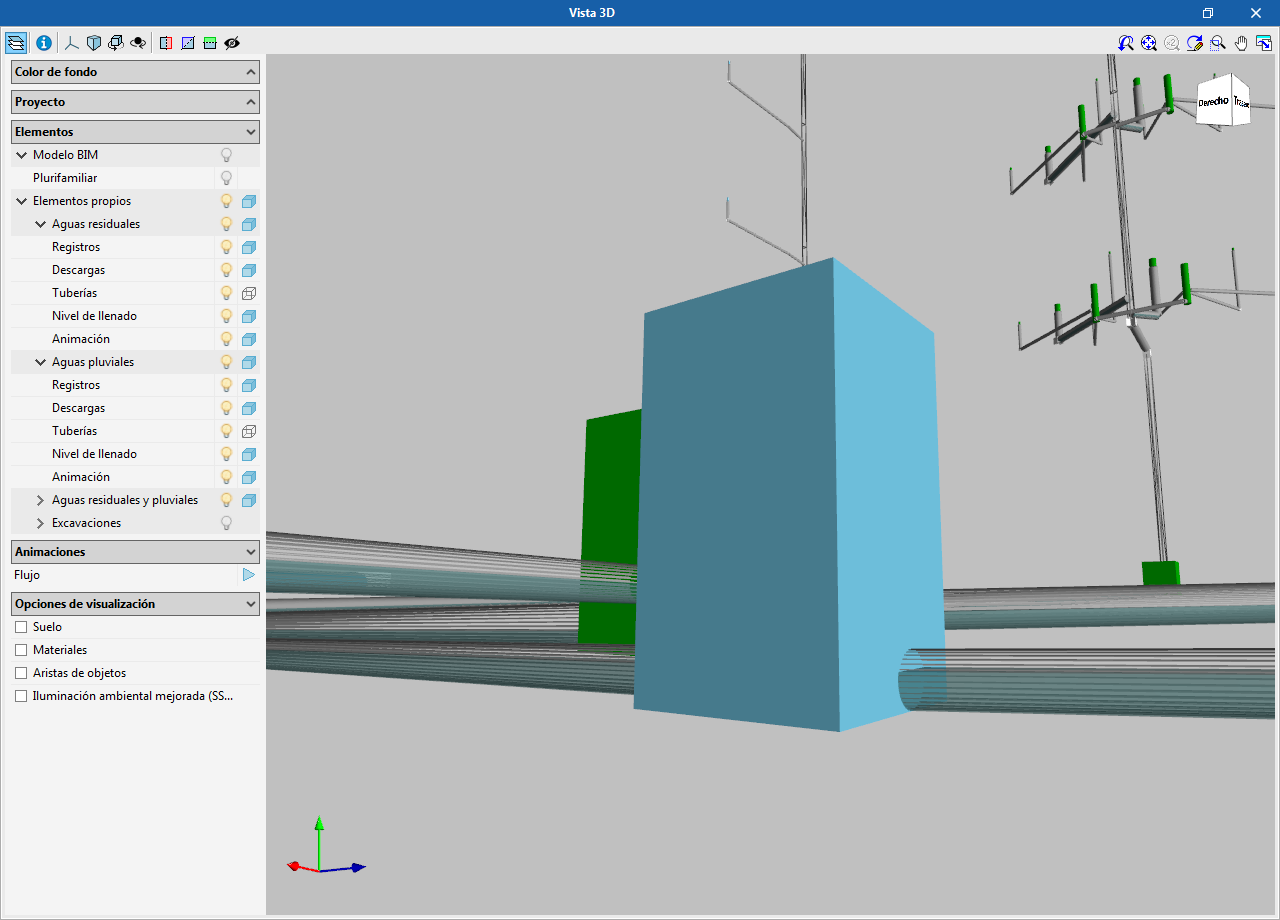 CYPEPLUMBING Sanitary Systems. View the fill level of the pipes in the 3D view