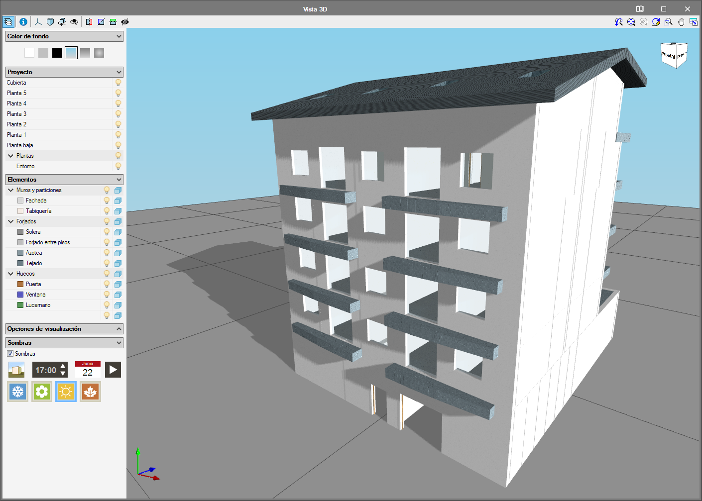 IFC Builder. View shadows on the 3D model of the building