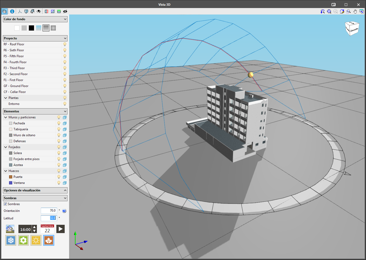 IFC Builder. Visualizzazione delle ombre nel modello 3D