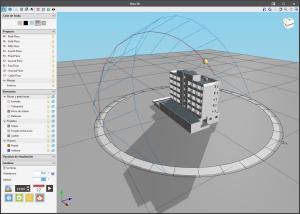 IFC Builder. Visualización de las sombras sobre el modelo 3D del edificio.