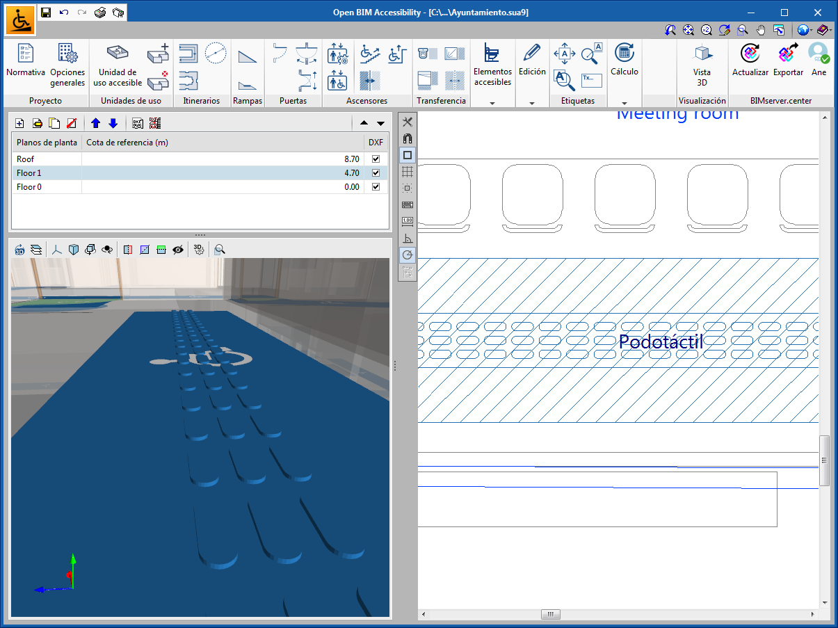 Open BIM Accessibility. Podotactile paths