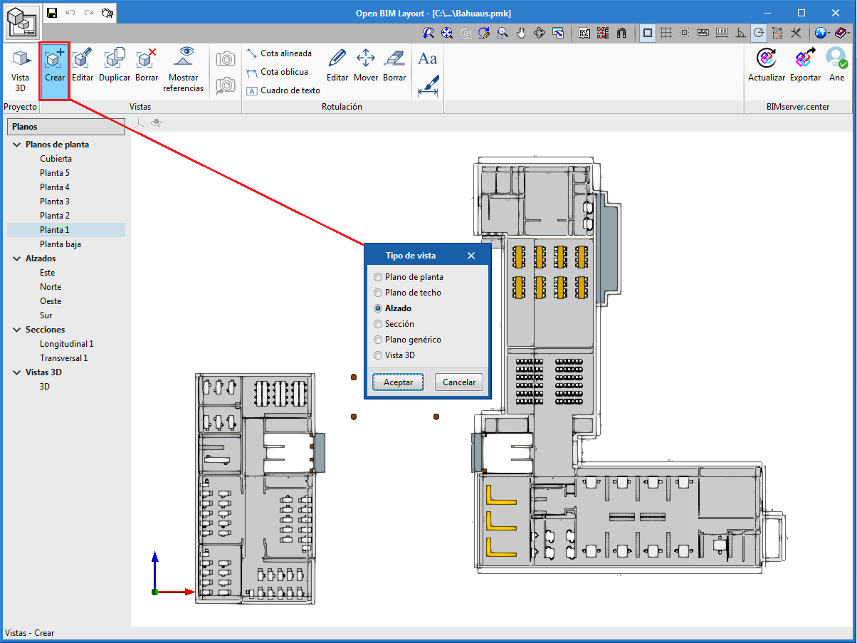 Architectural elements. Open BIM Layout