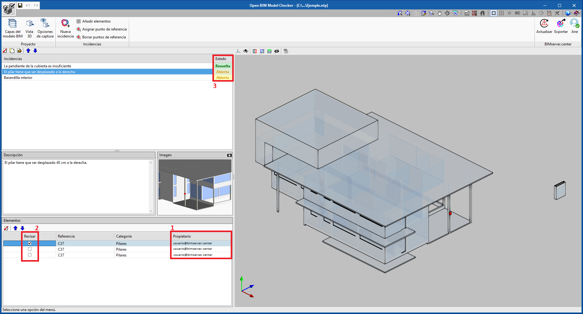 Open BIM Model Checker. Automatic recognition of the owners of elements with incidents