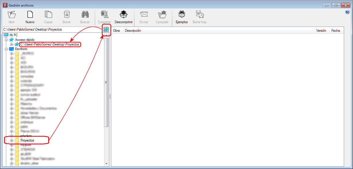 """Improvements common to all programs. Button to add the selected directory to the """"Quick access"""" directories"""