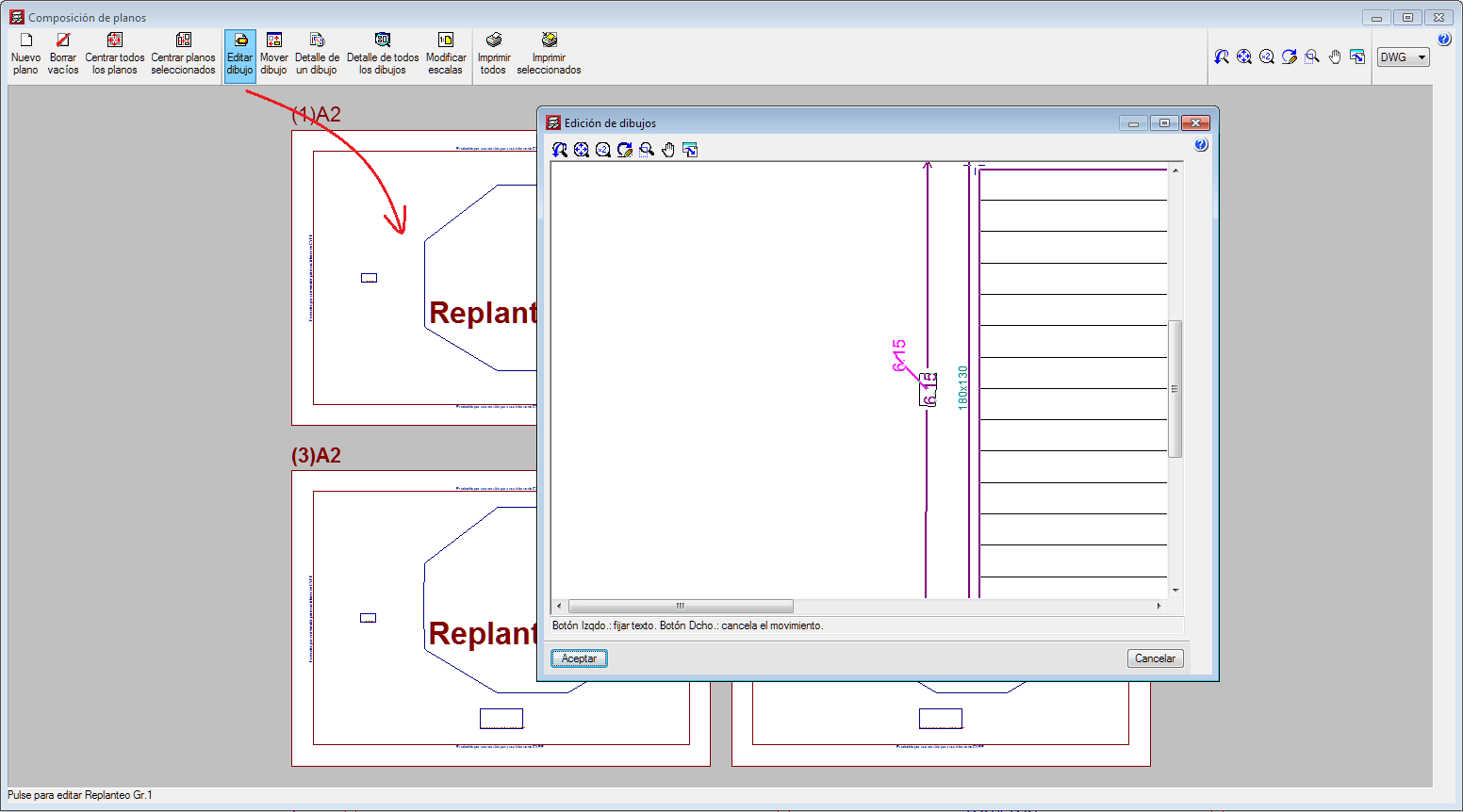 """CYPECAD. Move texts, introduced in """"Editing resources"""", from the """"Drawings editor"""" of the """"Drawing composition"""""""