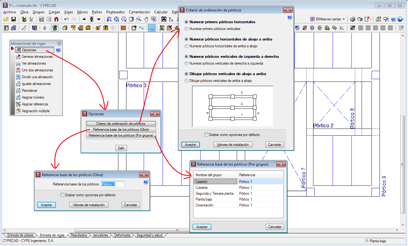 CYPECAD. Options to manage beam alignment references