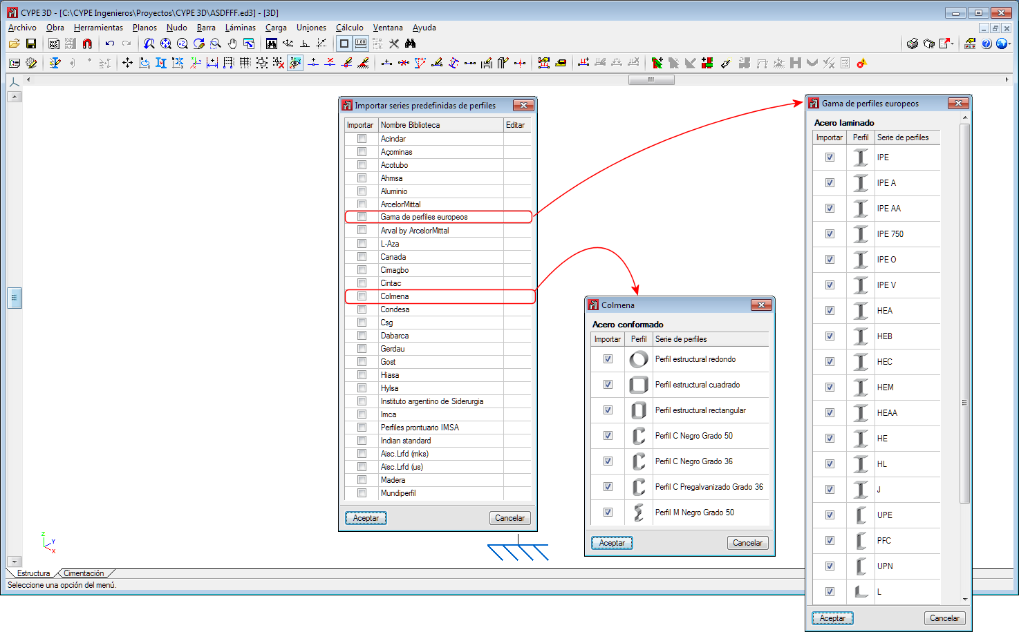 CYPECAD and CYPE 3D. New section library