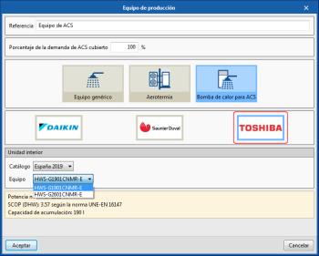 CYPETHERM con motor de cálculo EnergyPlus. Actualización del catálogo de equipos de climatización y ACS de TOSHIBA