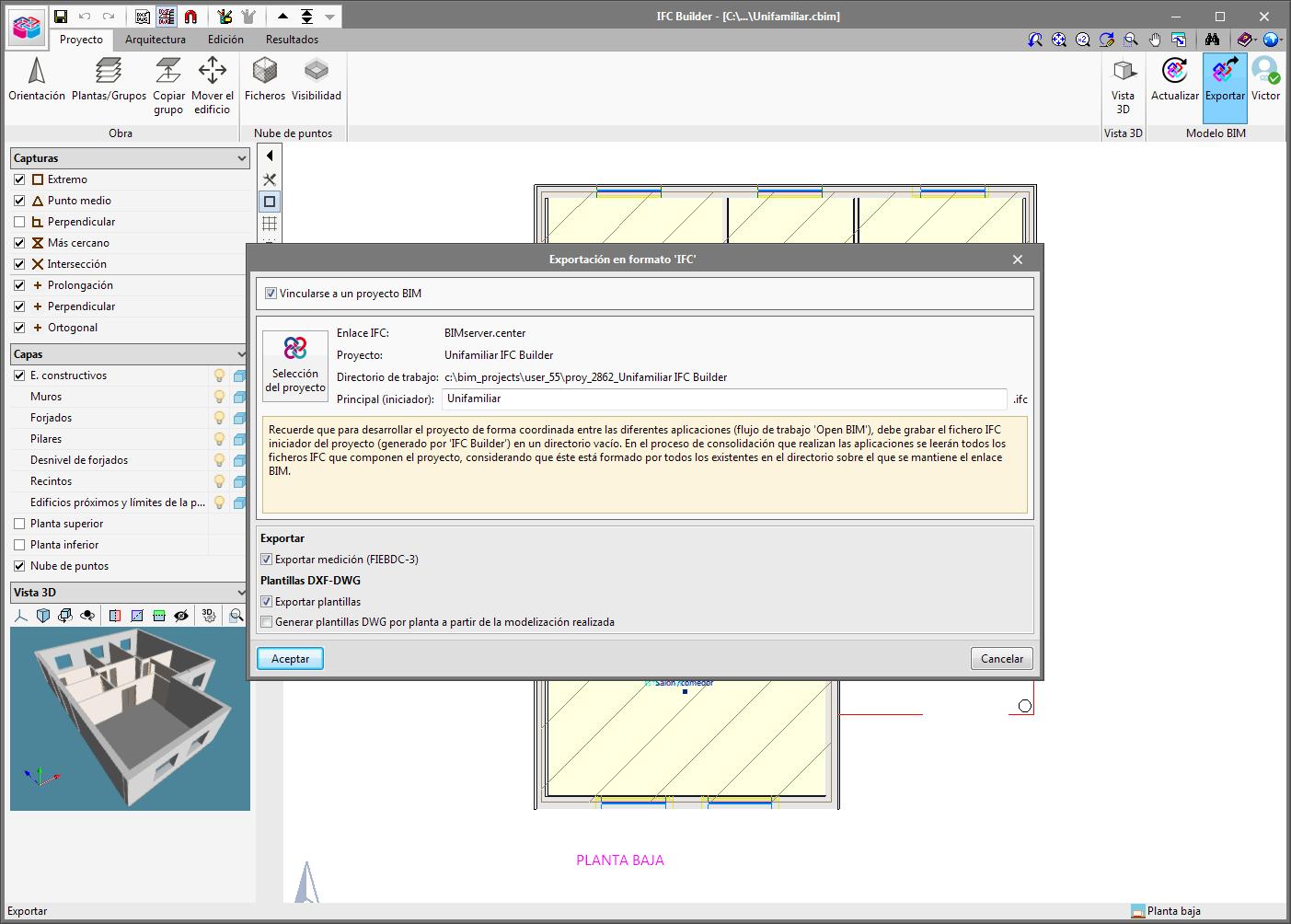 IFC Builder. Export quantities to the BIM project