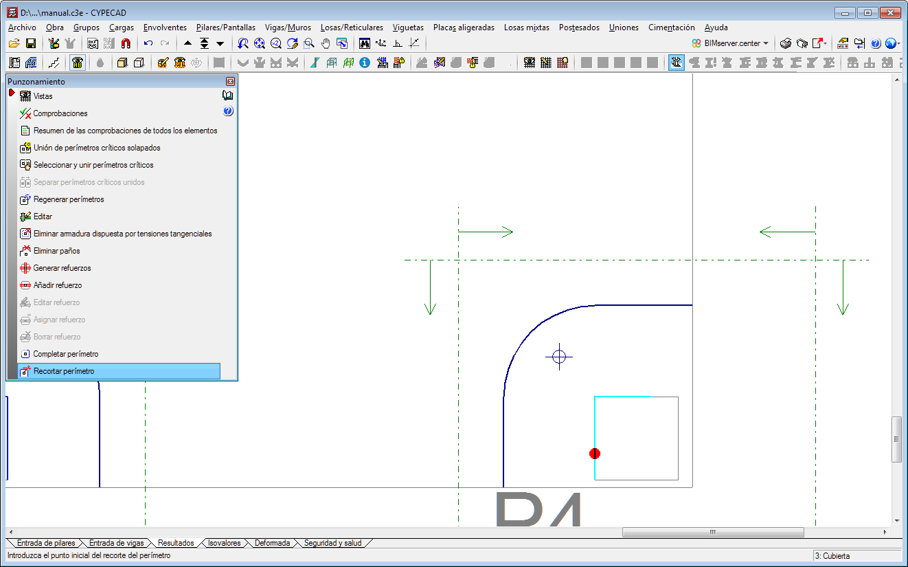 CYPECAD. Edit the perimeter of the support for punching shear check