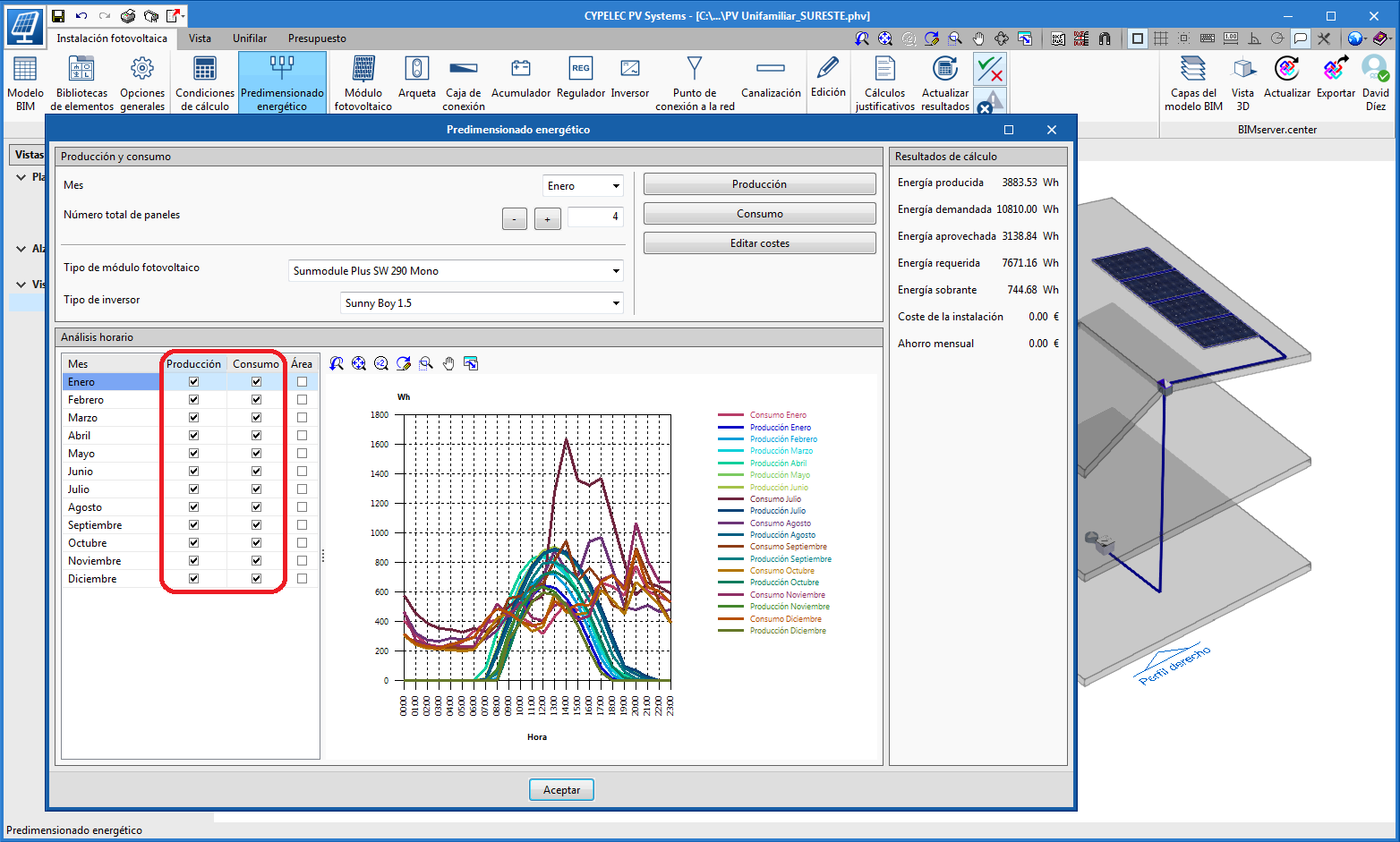 CYPELEC PV Systems. View consumption and generation graphs