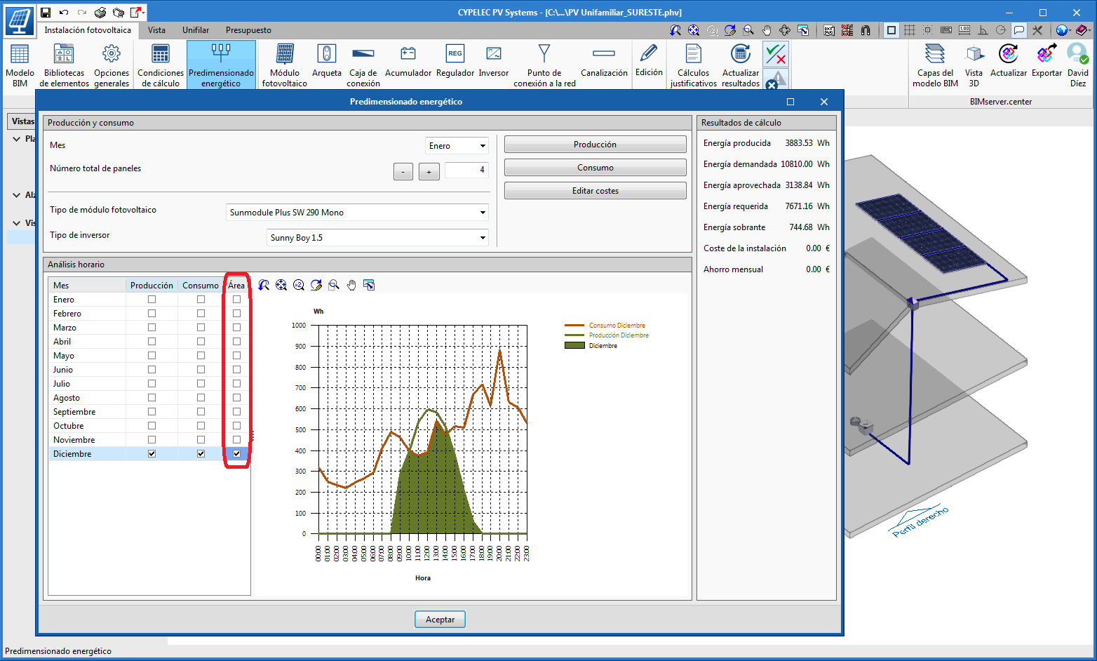 CYPELEC PV Systems. View the intersection between consumption and generation graphs