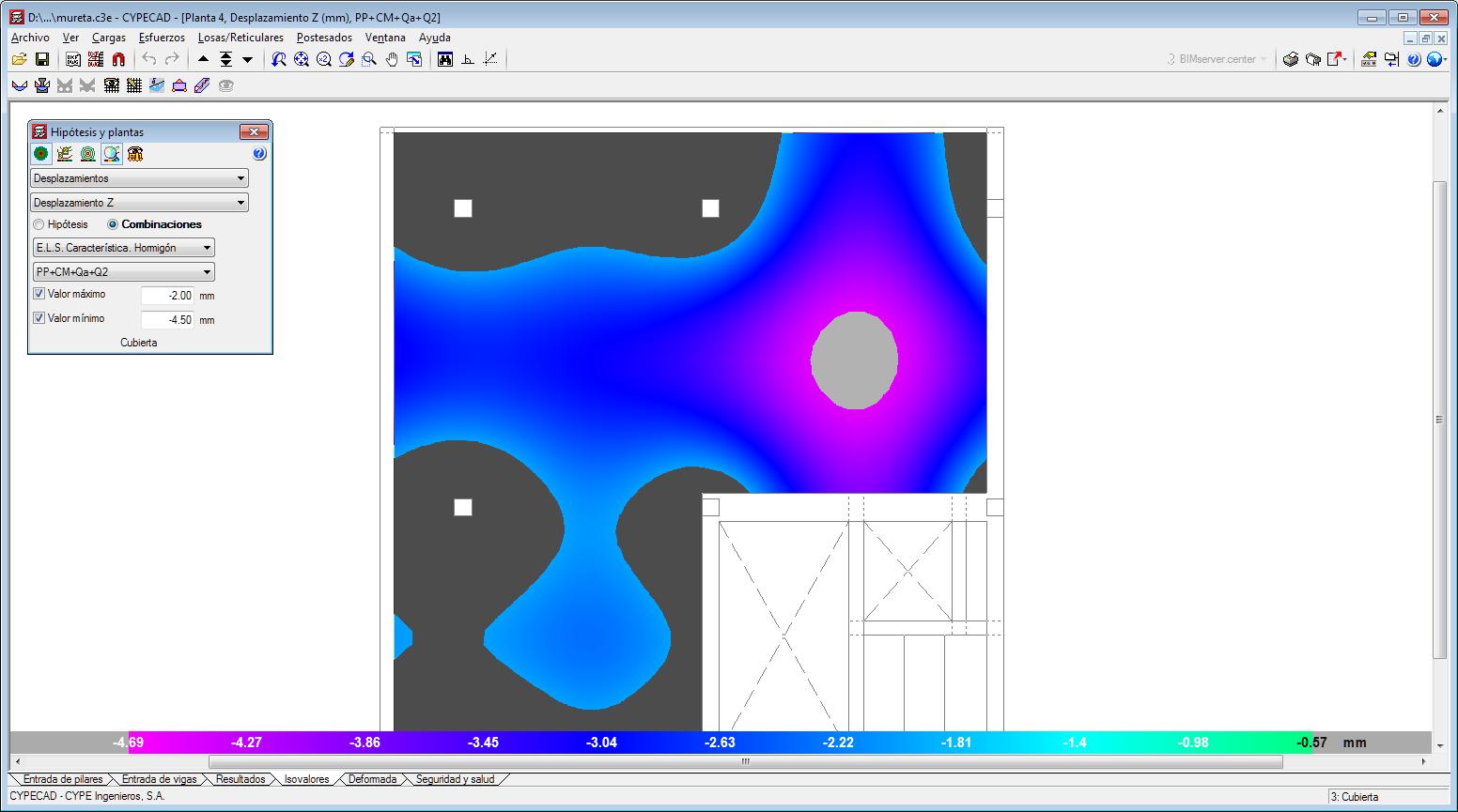CYPECAD. Rangos máximos y mínimos para visualizar esfuerzos y desplazamientos en la Solapa Isovalores