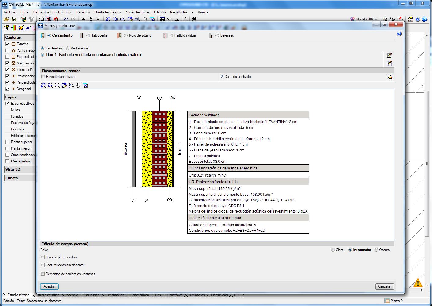 CYPECAD MEP. Exportación al proyecto BIM de las características acústicas de las soluciones constructivas empleadas
