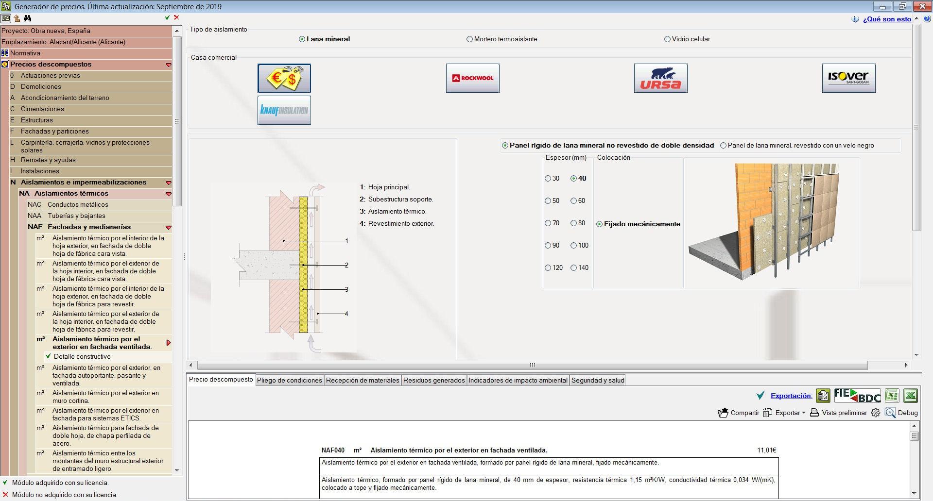 Generador de precios. Aislamiento térmico por el exterior en fachada ventilada. Nuevos requisitos del DB-SI establecidos por el RD 732/2019
