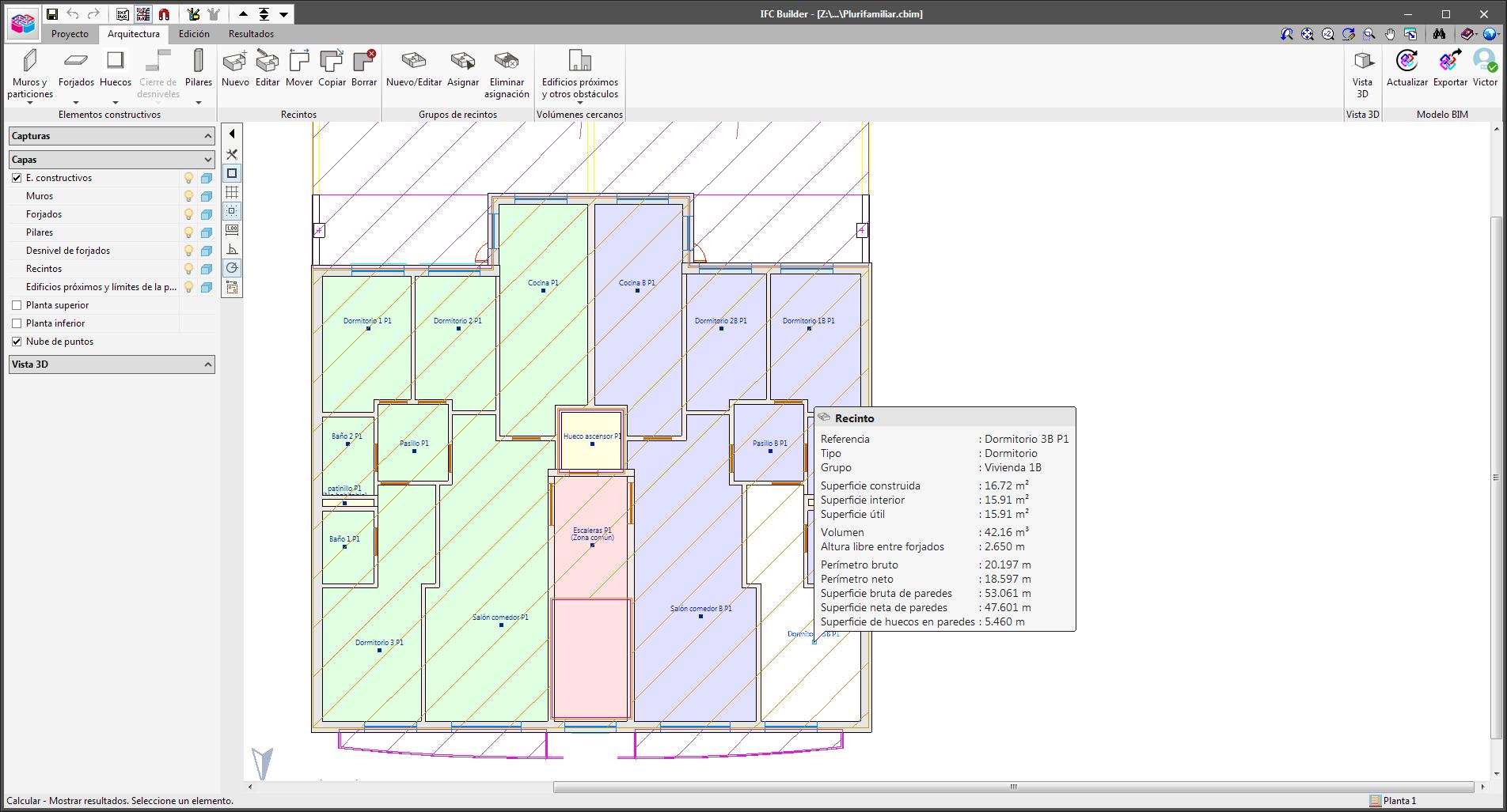 IFC Builder. Medición del modelo arquitectónico