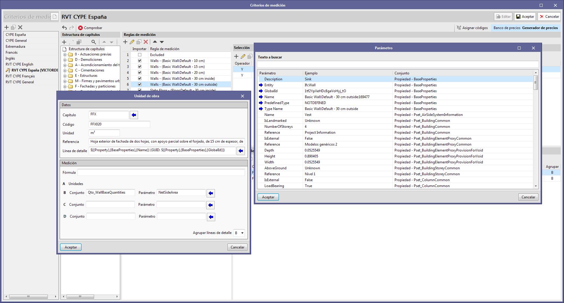 Open BIM Quantities. Personalización de las líneas de detalle