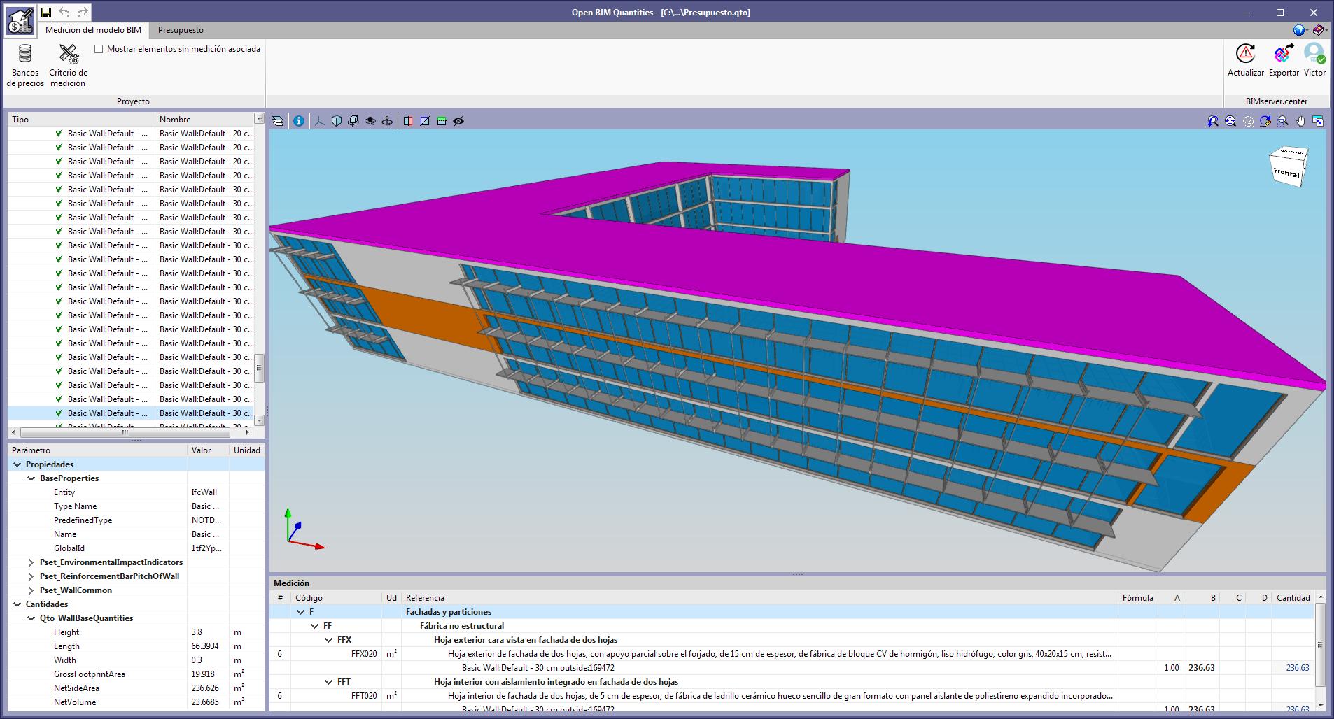 Open BIM Quantities. Selección de elementos en la vista 3D