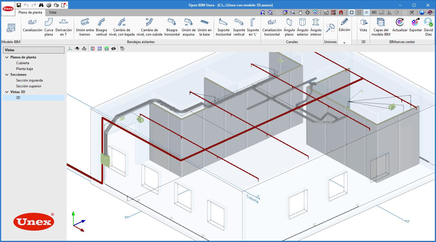 Open BIM Unex. Interfaz de introducción de elementos en entorno 3D