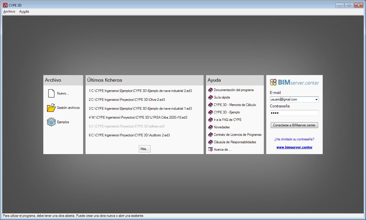 CYPE 3D. Conexión con BIMserver.center