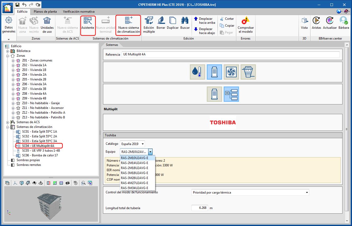 CYPETHERM Eplus. Sistemi multisplit R32 di TOSHIBA