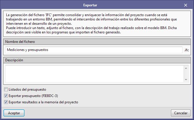 Presupuestos. Exportación de la documentación para Open BIM Memorias CTE (España)