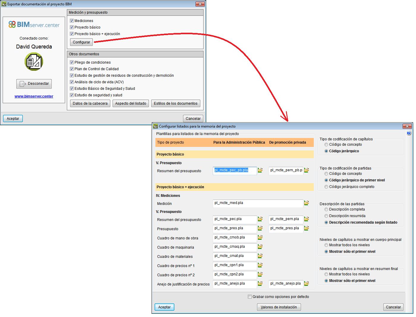 Arquímedes y Control de obra. Exportación de documentación al Modelo BIM