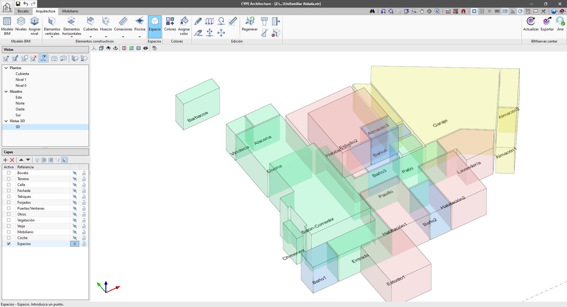 CYPE Architecture. Asignar espacios