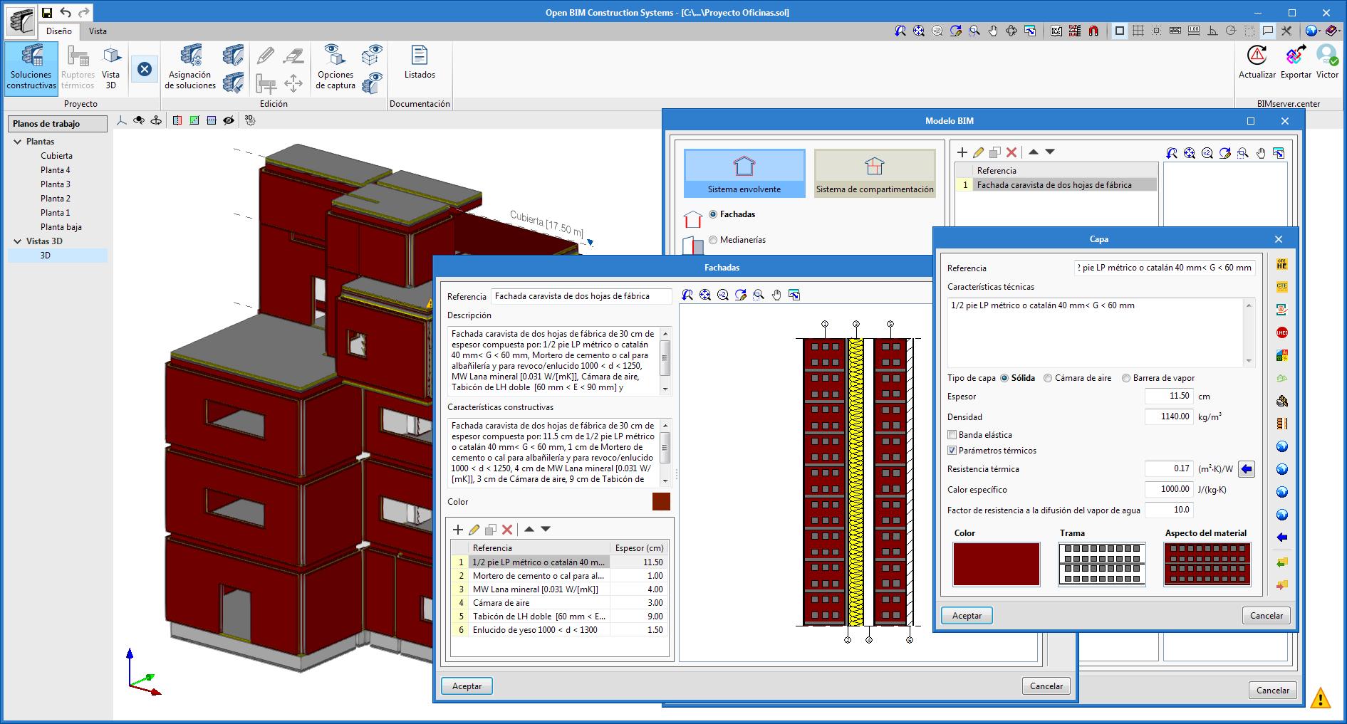 Open BIM Construction Systems. Exportación de la definición de las soluciones constructivas para las aplicaciones de cálculo térmico y acústico