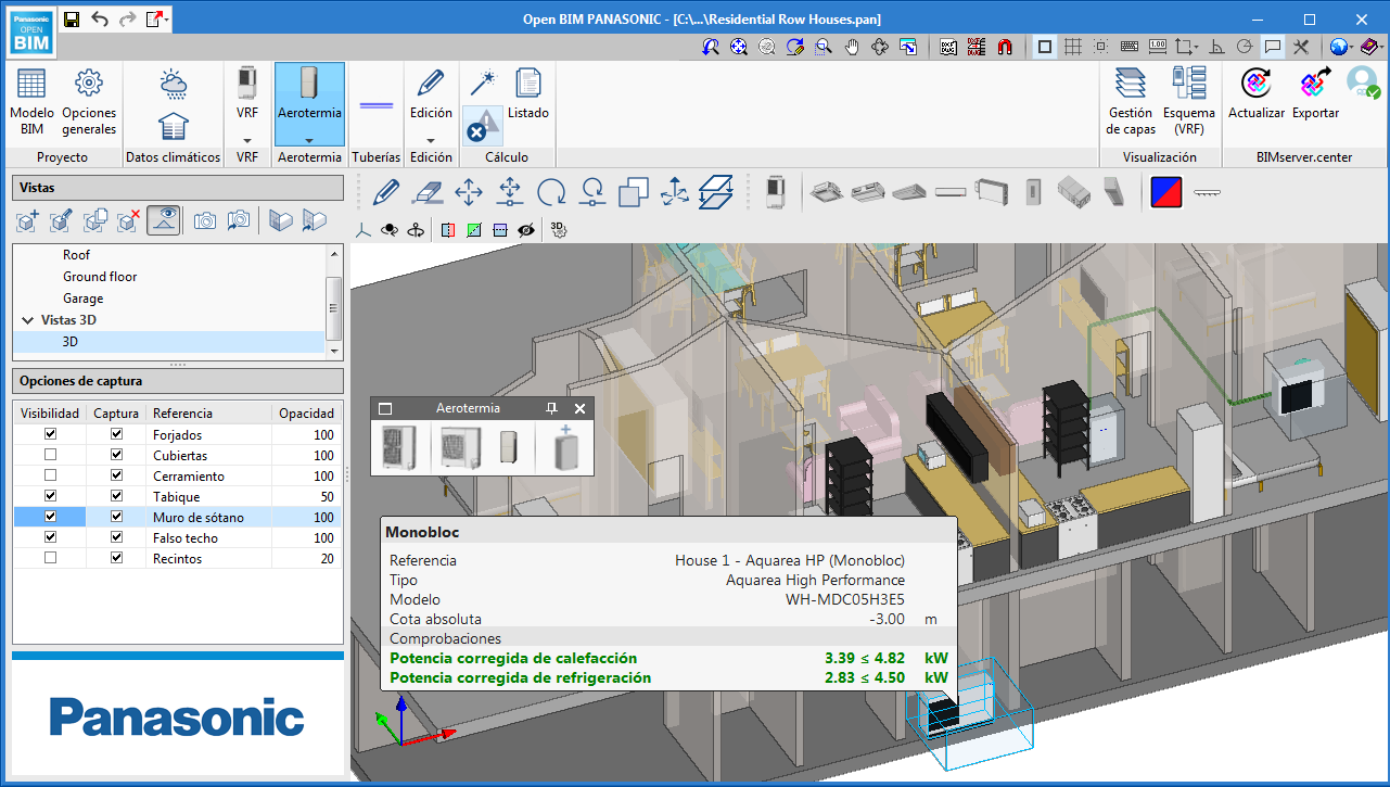 Open BIM PANASONIC. Air-source heat pump equipment