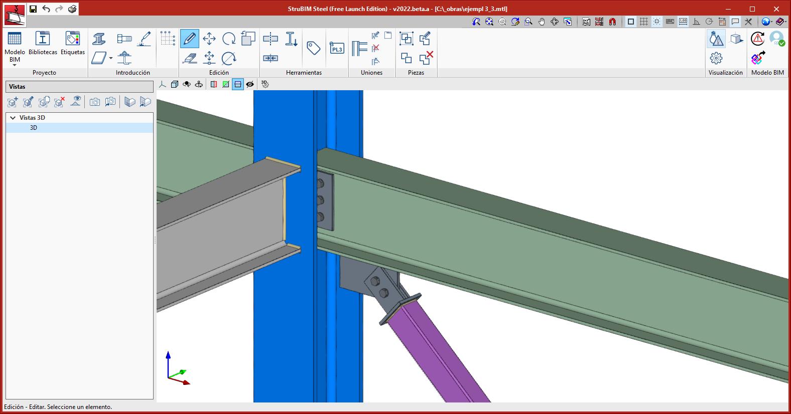 StruBIM Steel. Diagonal unida a perfil principal, con chapa frontal