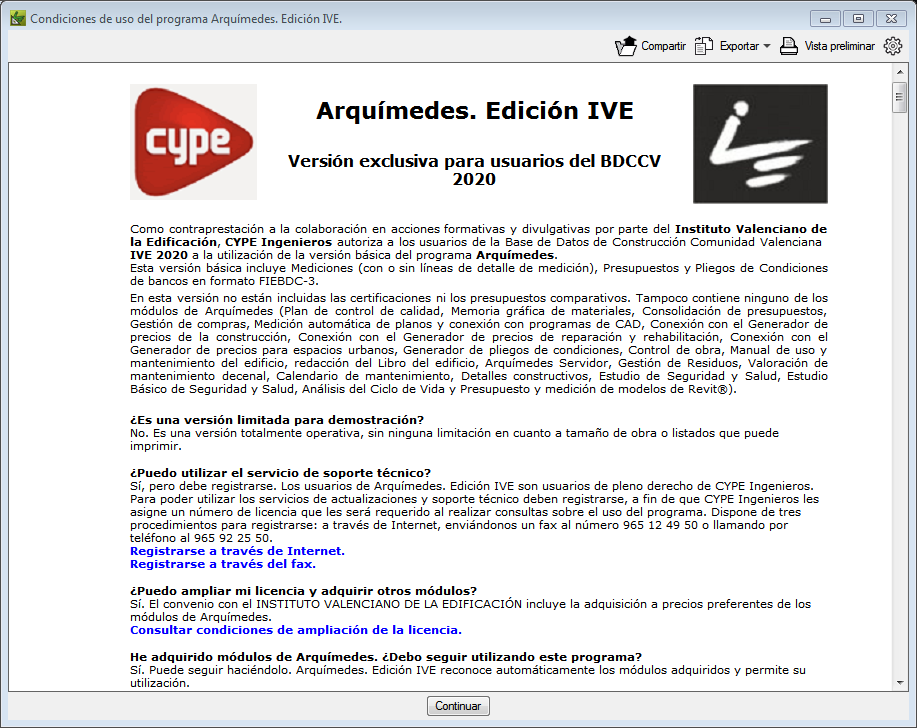 Arquímedes Edición IVE. Base de Datos de Construcción de la Comunidad Valenciana IVE 2020 (BDCCV IVE 2020)