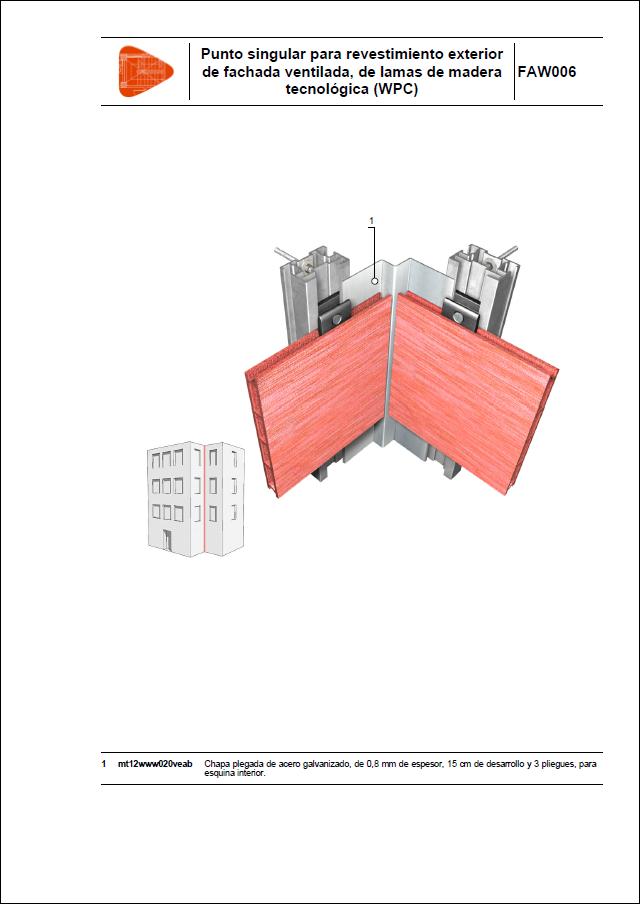 Punto singular para revestimiento exterior de fachada ventilada, de lamas de madera tecnológica (WPC)