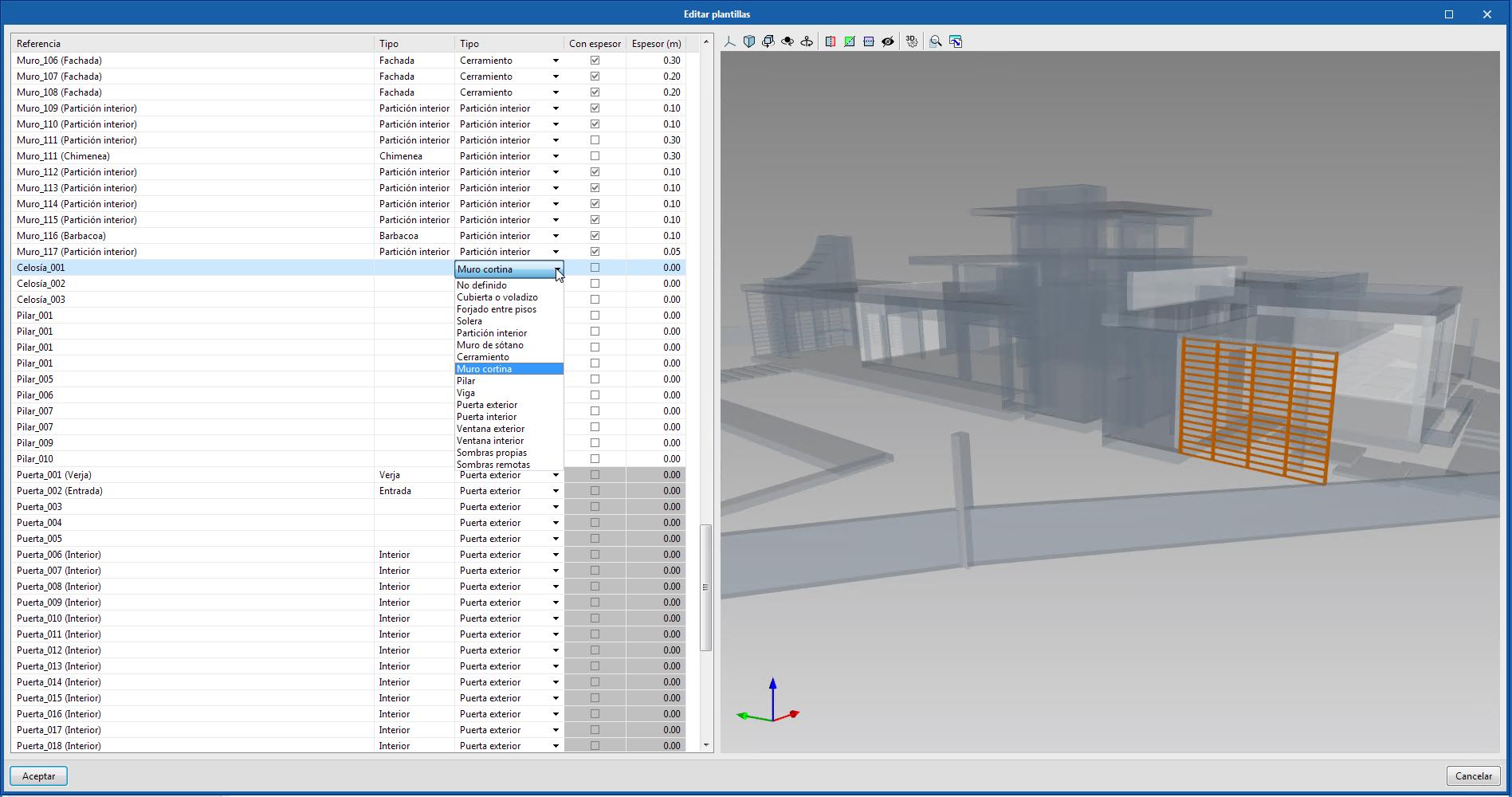 Open BIM Analytical Model. Asignación de elementos de sombra a los componentes del modelo físico