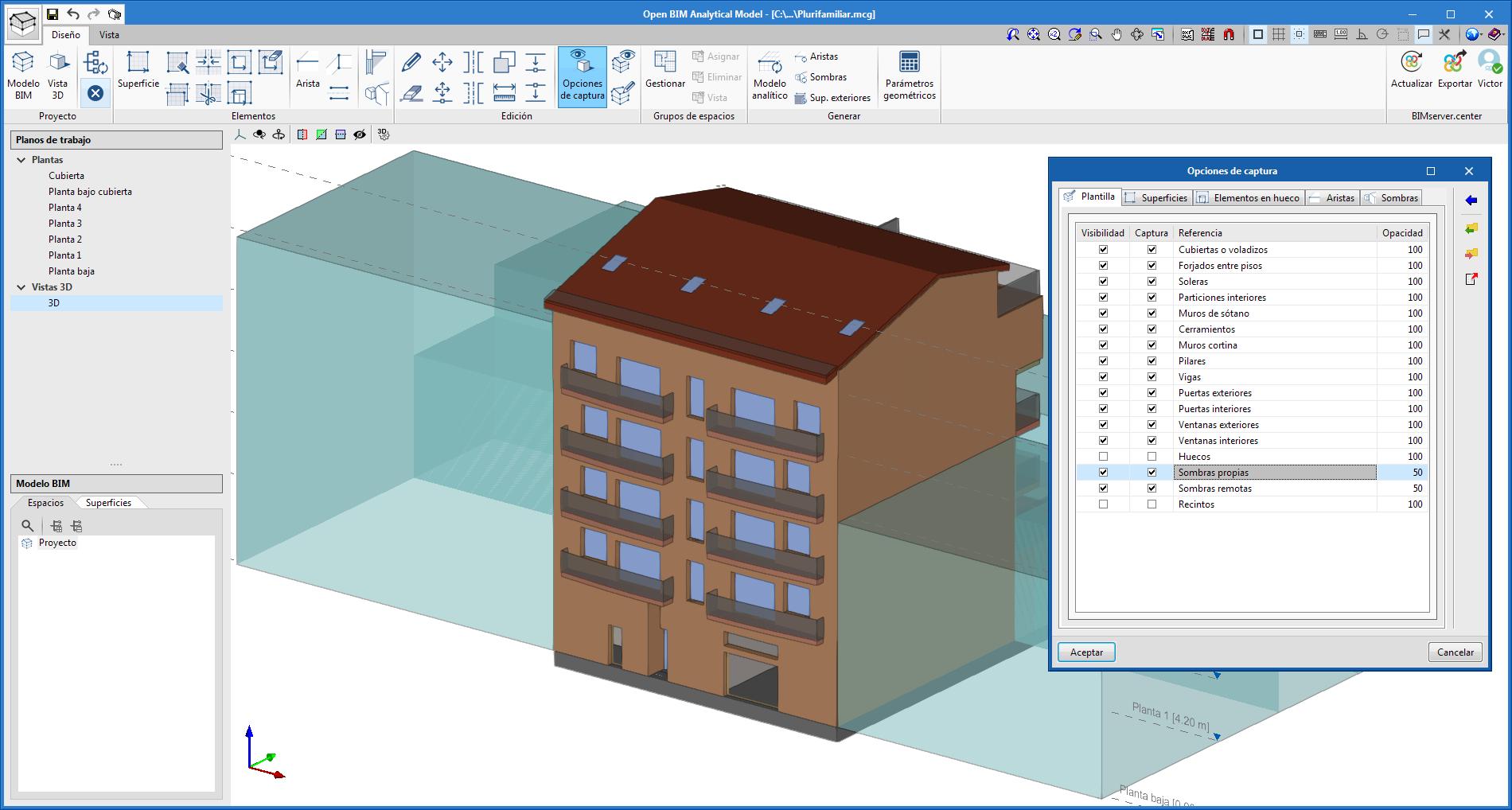 Open BIM Analytical Model. Visualización de los elementos de sombra del modelo físico