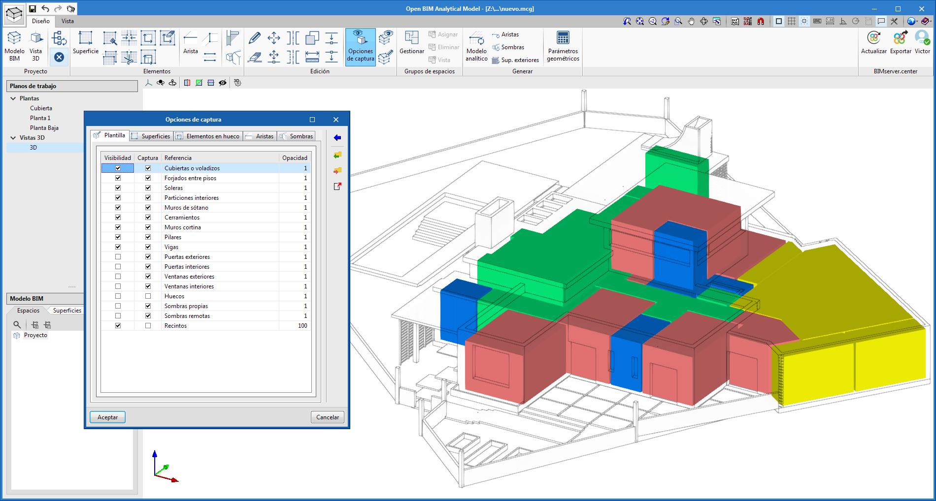 Open BIM Analytical Model. Visualización de los recintos del modelo físico