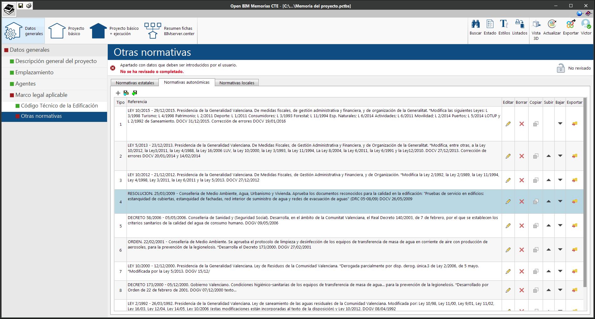 Open BIM Memorias CTE. Orden de las normas en el marco legal aplicable